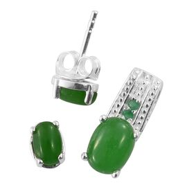 Super Bargain Price-Green Jade (Ovl), Kagem Zambian Emerald Pendant and Stud Earrings (with Push Back) in Sterling Silver 3.000 Ct.