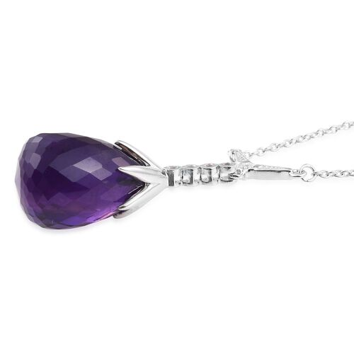 Amethyst, White Topaz Pendant With Chian in Platinum Overlay Sterling Silver 18.250 Ct.