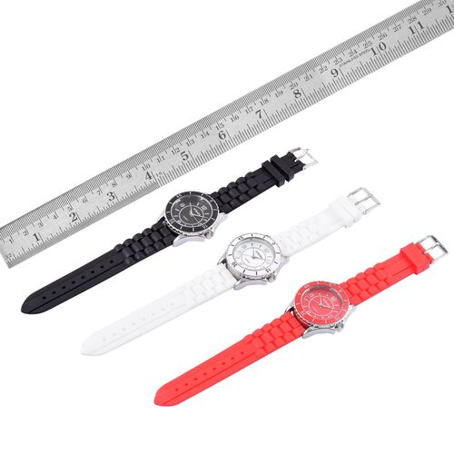Designer Inspired - Special Edition Set of 3 - STRADA Japanese Movement Red, Black and White Colour Dial Water Resistant Watch in Silver Tone with Silicone Strap