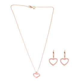 Brilliant Cut Simulated Diamond (Rnd) Heart Pendant with Chain and Lever Back Earrings in Rose Gold Overlay Sterling Silver