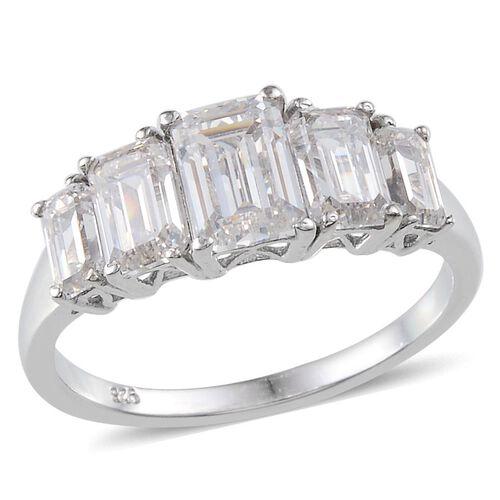 J Francis - Platinum Overlay Sterling Silver (Oct) 5 Stone Ring Made With SWAROVSKI ZIRCONIA