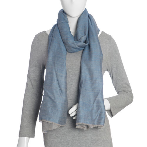 Limited Available -100% Cashmere Wool Turquoise and Grey Colour Reversible Scarf with Fringes (Size 200X70 Cm)