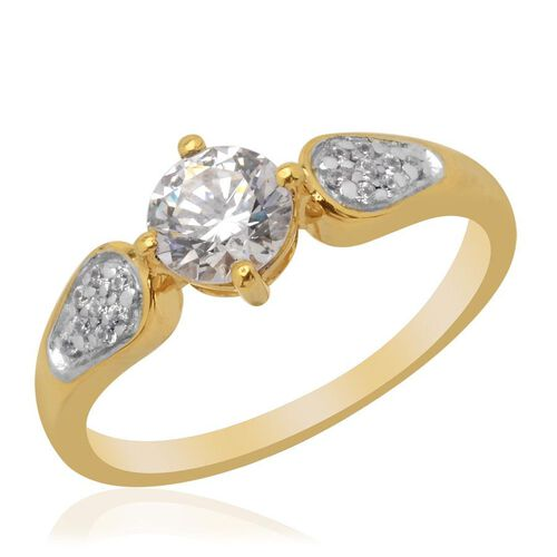 J Francis - 14K Gold Overlay Sterling Silver (Rnd) Ring Made with SWAROVSKI ZIRCONIA 0.968 Ct.