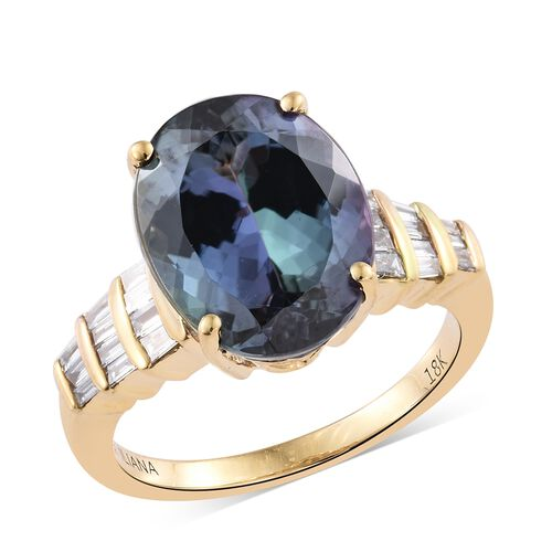 ILIANA 18K Yellow Gold 7.80 Ct Very Rare AAA Peacock Tanzanite, 0.25 Ct ( SI G-H) Diamond Ring, Gold Wt 4.89 Gm