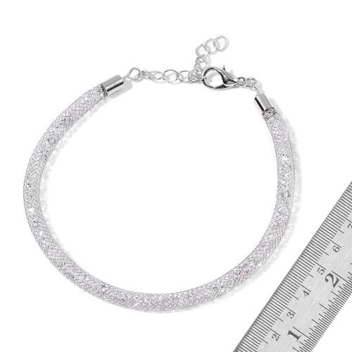 White Austrian Crystal Bracelet (Size 7 with 2 inch Extender) in Silver Tone