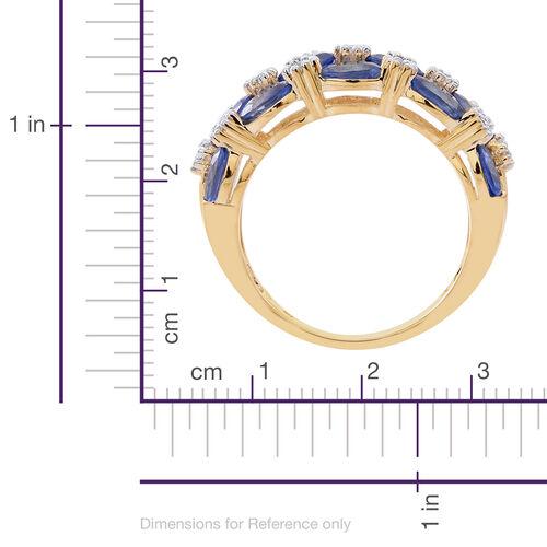 9K Yellow Gold 4 Carat AA Ceylon Blue Sapphire, White Zircon Ring