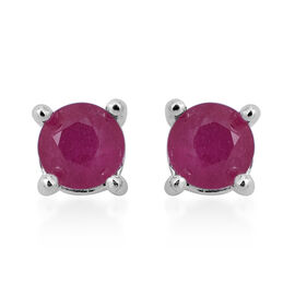 African Ruby (Rnd) Stud Earrings (with Push Back) in Sterling Silver 1.000 Ct.