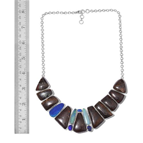 One Off A Kind- Boulder Opal Rock and Opal Double Necklace (Size 18 with 1 inch Extender) in Sterling Silver 194.851 Ct. Silver wt 37.90 Gms.
