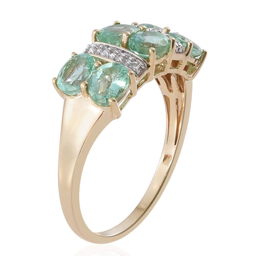 Limited Edition - 9K Y Gold Boyaca Colombian Emerald (Ovl), Natural Cambodian Zircon Ring 2.00 Ct.