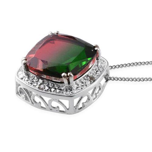 Tourmaline Colour Quartz (Cush 6.75 Ct), Diamond Pendant With Chain in Platinum Overlay Sterling Silver 6.780 Ct.