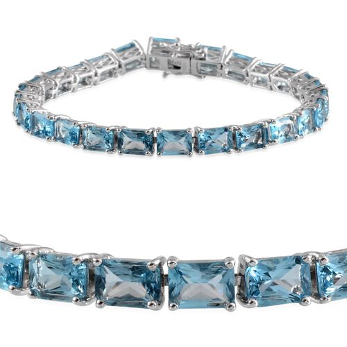 Electric Swiss Blue Topaz (Oct) Bracelet in Platinum Overlay Sterling Silver (Size 7.5) 26.500 Ct.
