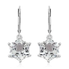 Limited Edition- STELLARIS CUT White Topaz Lever Back Earrings in Platinum Overlay Sterling Silver 10.500 Ct.