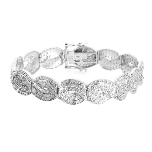 Close Out Deal Diamond (Rnd) Bracelet (Size 7.50 in Platinum Overlay Sterling Silver 3.050 Ct.