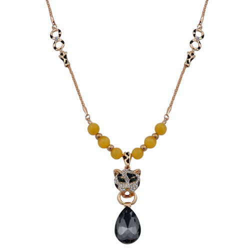 Simulated Yellow Cats Eye, Grey Glass, Green and White Austrian Crystal Enameled Leopard Face Necklace (Size 28) in Gold Tone