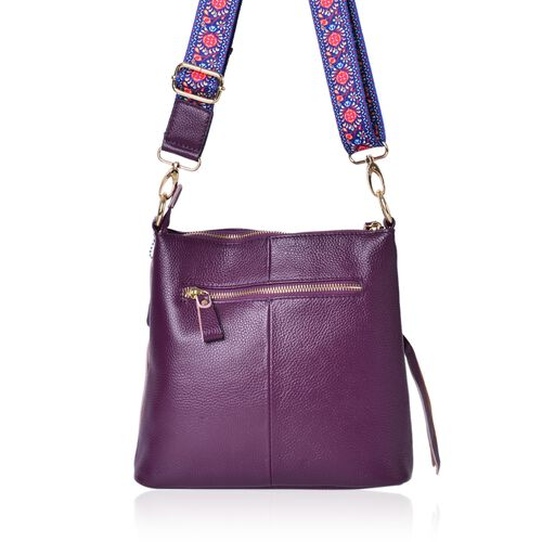 Designer Inspired-Marilyn Genuine Leather Winter Lavender Crossbody Bag with External Zipper Pocket and Floral Print Adjustable Shoulder Strap (Size 25X23X8 Cm)