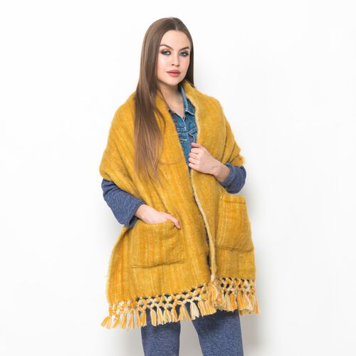 Designer Inspired-Yellow Mustard Colour Winter Scarf with Pockets and Fringes at the Bottom (Size 175x45 Cm)
