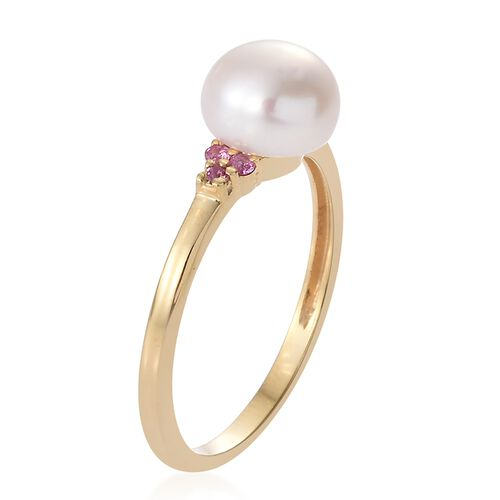 White Pearl (Rnd 8mm), Pink Sapphire Ring in 14K Gold Overlay Sterling Silver