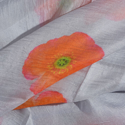 100% Mulberry Silk Grey, Orange and Multi Colour Poppy Flower Pattern Scarf (Size 180X100 Cm)