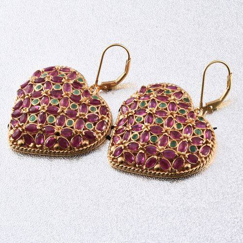 African Ruby (Mrq), Kagem Zambian Emerald Lever Back Earrings in 14K Gold Overlay Sterling Silver 12.000 Ct. Silver wt 10.98 Gms. Number of Gemstone 120