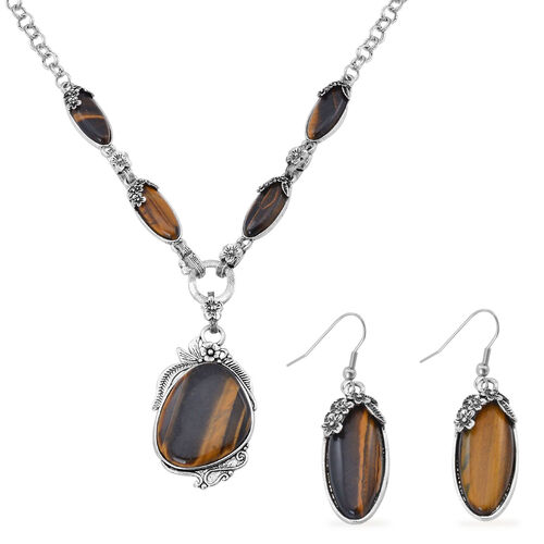 Tigers Eye Necklace (Size 20) and Hook Earrings in Black Tone 40.000 Ct.
