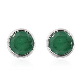 Kagem Zambian Emerald (Rnd) Stud Earrings (with Push Back) in Platinum Overlay Sterling Silver 1.000 Ct.