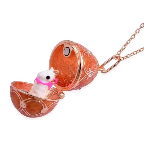 AAA White Austrian Crystal Enameled Egg Shape Pendant With Chain in Rose Gold Tone
