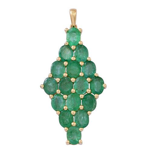 9K Yellow Gold AAA Kagem Zambian Emerald (Ovl) Pendant 5.000 Ct.