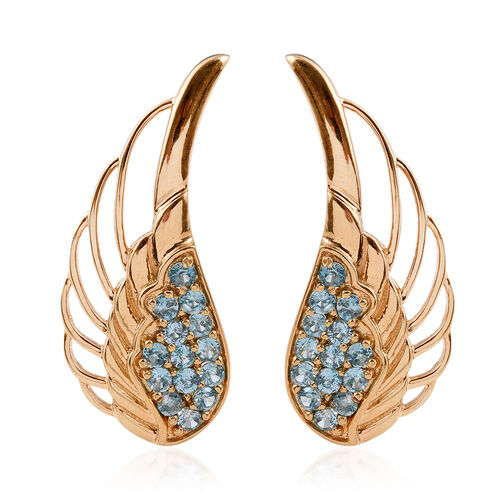 AA Natural Cambodian Blue Zircon (Rnd) Climber Earrings in 14K Gold Overlay Sterling Silver 3.000 Ct.