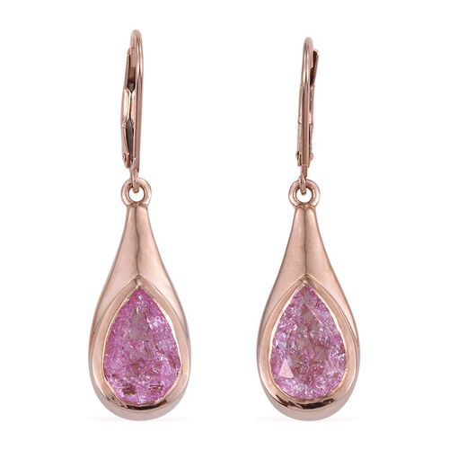 Hot Pink Crackled Quartz (Pear) Lever Back Earrings in Rose Gold Overlay Sterling Silver 5.750 Ct.