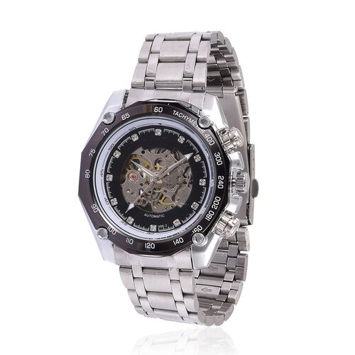 GENOA Automatic Skeleton Pink and White Austrian Crystal Studded Black Dial Water Resistant Watch in Silver Tone with Chain Strap