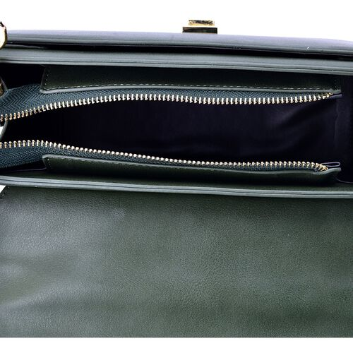 Amor Gold Metal Handle Bag in Oilve Green (Size 24x15x10 Cm)