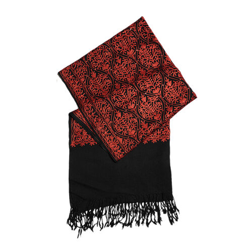 100% Merino Wool Black and Red Colour Embroidered Scarf (Size 190x70 Cm)