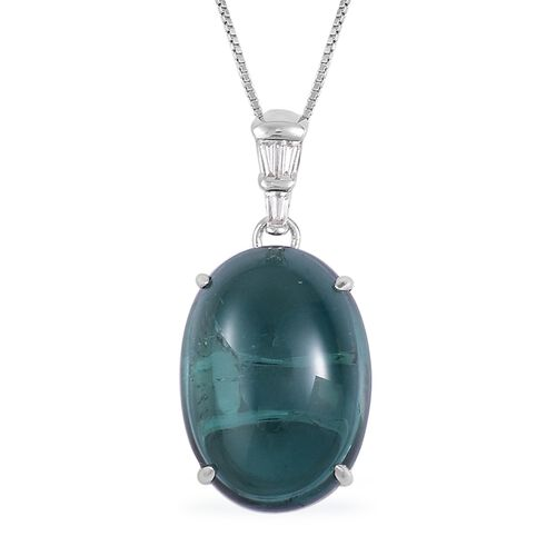 ILIANA 18K W Gold AAA Monte Belo Indicolite (Ovl 11.50 Ct), Diamond (SI/G-H) Pendant With Chain 11.600 Ct.