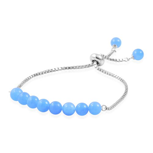 Blue Jade Ball Beads Bolo Bracelet (Size 6.5 to 7.5) in Rhodium Plated Sterling Silver 16.720 Ct.