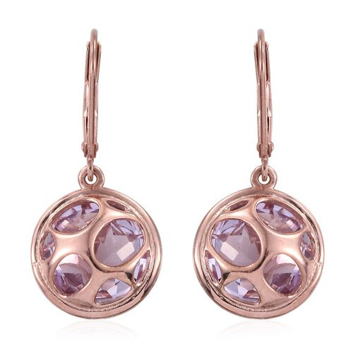 Rose De France Amethyst (Rnd) Lever Back Earrings in Rose Gold Overlay Sterling Silver 9.250 Ct.