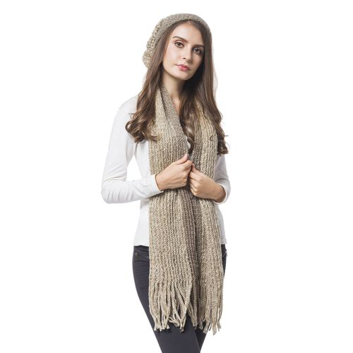 Designer Inspired-Coffee Colour Knitted Scarf with Tassels (Size 166X16 Cm) and Hat (Size 30X22 Cm)