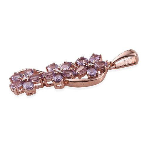 Rose De France Amethyst (Ovl) Triple Floral Pendant in ION Plated 18K Rose Gold Bond 2.000 Ct.