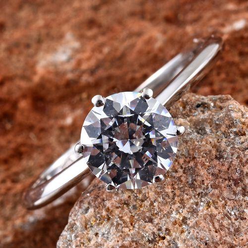 Swarovski Zirconia (2.00 Ct) Platinum Overlay Sterling Silver Ring  2.000  Ct.