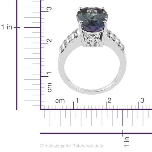 ILIANA 18K White Gold 8 Ct Rare AAA Peacock Tanzanite Ring with Diamond IGI Certified (SI/G-H)