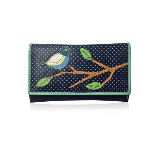 100% Genuine Leather RFID Blocker Dark Blue, Green and Multi Colour Polka Dots and Bird on Branch Pattern Wallet with Multiple Card Slots (Size 16X10X3 Cm)
