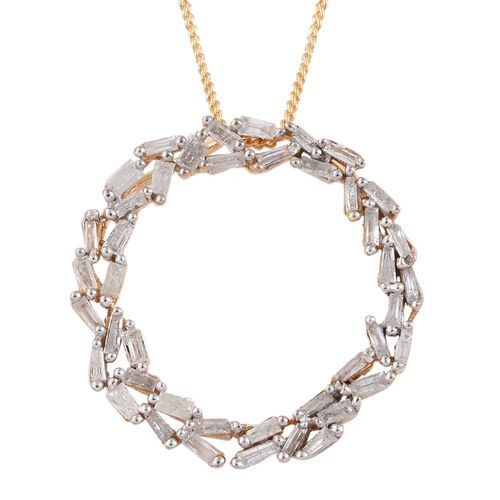 Designer Inspired- Circle of Life Diamond Pendant with Chain in 14K Gold Overlay Sterling Silver 0.50 Ct.