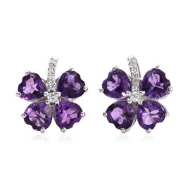 Amethyst (Hrt), Natural Cambodian Zircon Clover Leaf Earrings (with Push Back) in Platinum Overlay Sterling Silver 5.500 Ct.