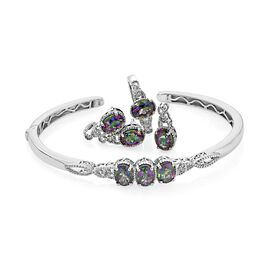Northern Lights Mystic Topaz (Ovl) Ring, Bangle (Size 7.5), Pendant and Stud Earrings (with Push Back) in Platinum Overlay Sterling Silver 10.500 Ct. Silver wt 20.45 Gms.
