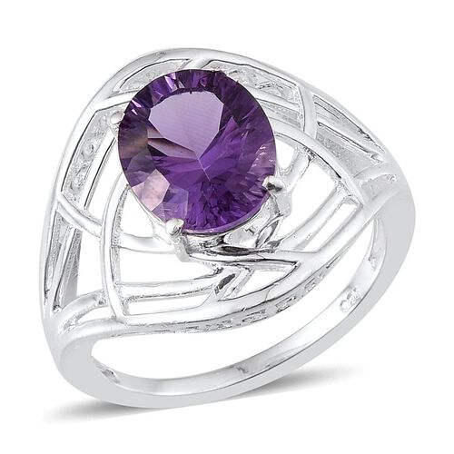 Brazilian Amethyst (Ovl) Solitaire Ring in Sterling Silver 2.750 Ct.