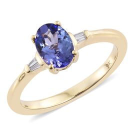 9K Yellow Gold 0.90 Carat AA Tanzanite Ring with Diamond