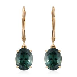 9K Yellow Gold AAA Teal Apatite (Ovl) Lever Back Earrings 3.000 Ct.