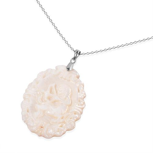 White Shell ZODIAC Sagittarius Pendant With Chain in Sterling Silver
