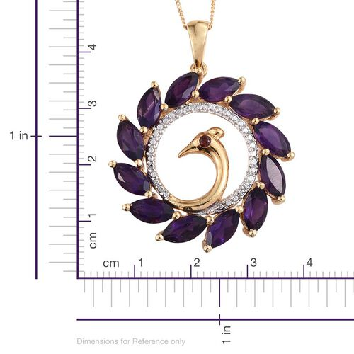 Amethyst (Mrq), Mozambique Garnet Peacock Pendant With Chain in 14K Gold Overlay Sterling Silver 6.500 Ct.