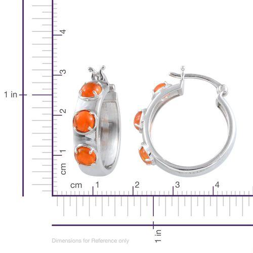 Orange Ethiopian Opal (Rnd) Hoop Earrings in Platinum Overlay Sterling Silver 1.500 Ct.