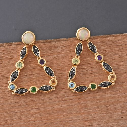 GP Ethopian Welo Opal (Rnd), Boi Ploi Black Spinel, Electric Swiss Blue Topaz, Hebei Peridot, Amethyst and Multi Gem Stone Earrings (with Push Back) in 14K Gold Overlay Sterling Silver 3.500 Ct.